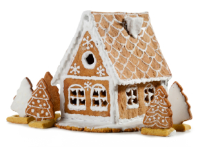 Homemade gingerbread house christmas